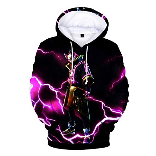 Unisex 3D Printed Fashion Hoodies Top Sweaters Sweatshirt Pullover for Boys Kids Teen Girl 4T-14T (Black,11-12T/S)