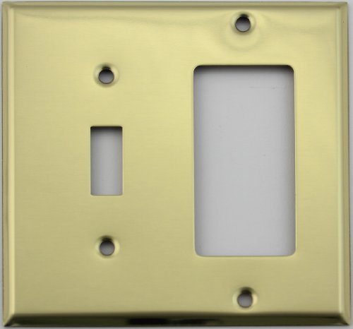 - Polished Brass Two Gang Wall Plate - One Toggle Switch One GFI/Rocker Opening