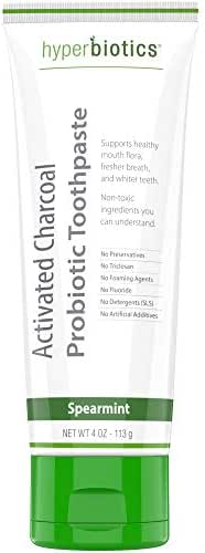 Probiotic Activated Charcoal Toothpaste - 4 Ounce Whitening Fluoride Free Spearmint Toothpaste with Xylitol, Organic Coconut Oil and Lactobacillus Paracasei - Supports Oral Health and Whiter Teeth