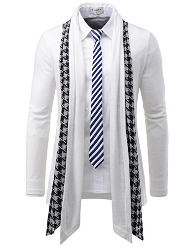TheLees (GD92) Slim Fit Hound tooth Check Open Front Shawl Collar Stylish Wool Cardigan White US S(Tag size L) by TheLees
