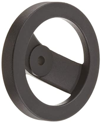 """2 Spoked Black Powder Coated Aluminum Dished Hand Wheel without Handle, 5"""" Diameter, 3/8"""" Hole Diameter (Pack of 1)"""