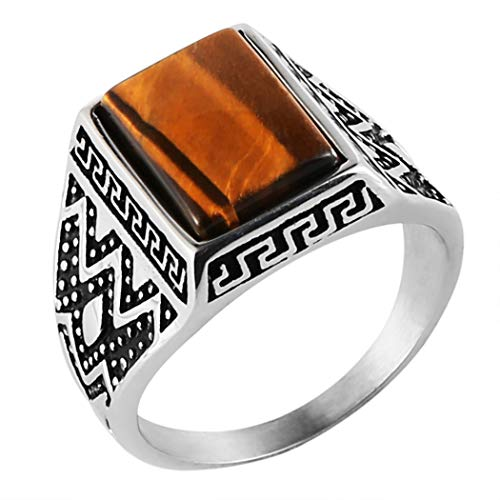 HZMAN Men's Vintage Brown Tiger's Eye Ring Stainless Steel Band (Rectangle, ()