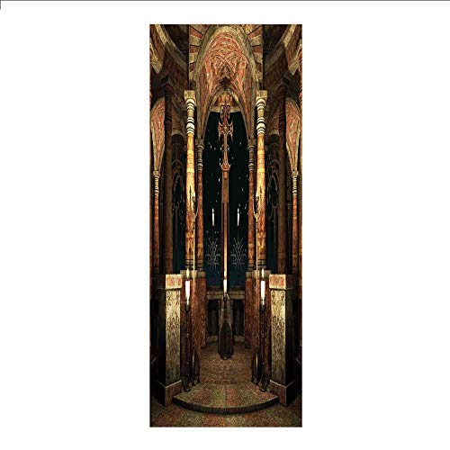 3D Decorative Film Privacy Window Film No Glue,Gothic,Dark Mystic Ancient Hall with Pillars and Cross Dome Shrine Building Print,Ivory Brown Black,for Home&Office