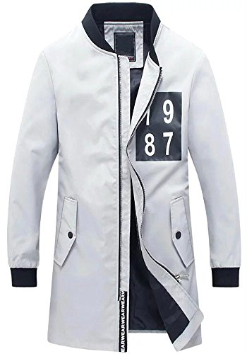 Men's Casual Fashion Long Trench Zipper Stand Collar Sport Pea Coat Jacket Grey
