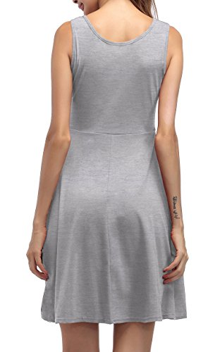 ... ZJCTUO Damen Ärmelloses Beiläufiges Strandkleid Sommerkleid Tank Kleid  Knielang Grau EP2Ju 34e21170c4