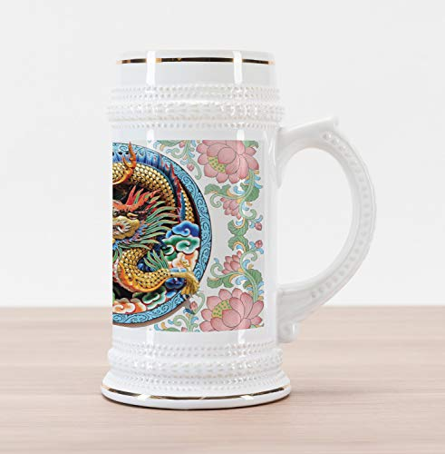 Lunarable Dragon Beer Stein Mug, Ancient Legendary Chinese Dragon on Floral Backdrop Esoteric Dynasty Icon East Asian, Traditional Style Decorative Printed Ceramic Large Beer Mug Stein, Multicolor