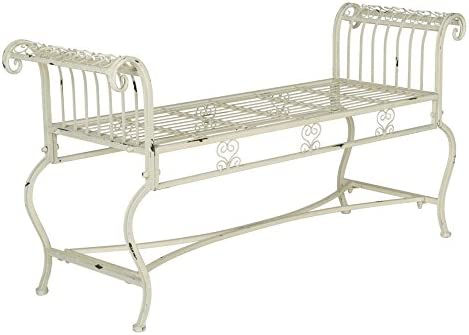 Safavieh Outdoor Collection Brielle Antique White Bench