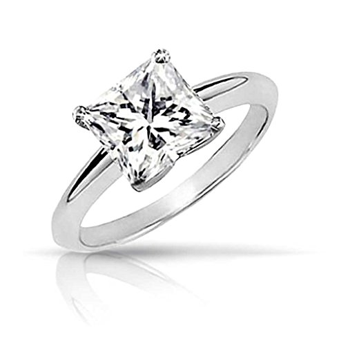 Bling Jewelry Sterling Silver CZ Princess Cut Solitaire for sale  Delivered anywhere in Canada
