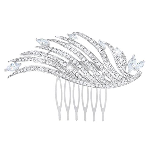 EVER FAITH Women's Austrian Crystal Zircon Wedding Elegant Angel Wing Hair Comb Clear Silver-Tone