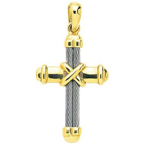 So Chic Bijoux © Pendentif Croix Christ Jésus Crucifix Corde Noeud Fil Arrondi Acier Inoxydable & Or Jaune 750/000 (18 carats)