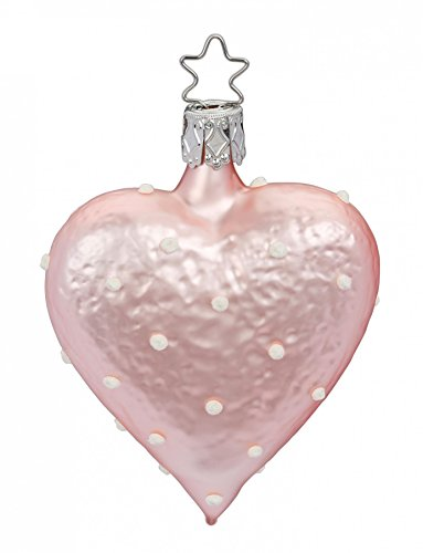 Inge Glas Heart Pink Sweet Heart 1-291-17 German Blown Glass Christmas Ornament 5 Sweetheart Everything Box