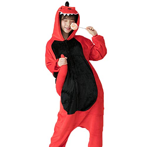 Itopfox Adult Animal Pajamas - Red Dinosaur One Piece Cosplay Costume Adult Flannel Onesies