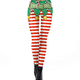Charming House Womens 3D Printed Ugly Christmas Cosplay Leggings, Style 01, Medium
