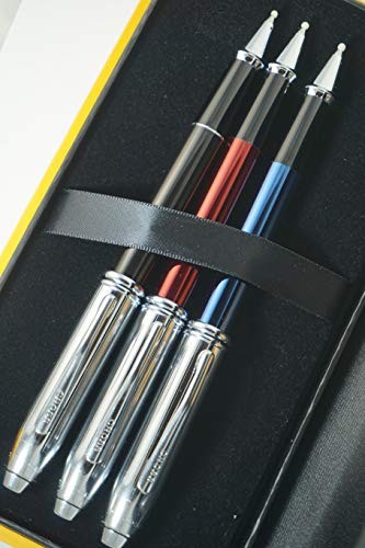 Cross Townsend Limited Edition Edition Metallic Blue, Red and Black Selectip Gel Ink Rollerball Pens Set Rare Combo of Cross Pen Sets