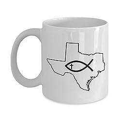God Bless Texas White Ceramic Coffee Mug - 11 oz 15 oz Pray for Texas