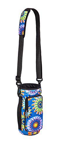 Cypress Home Boho Floral Neoprene Travel Water Bottle Carrier for Hiking, Strollers and Outdoor Activities