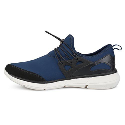 Territorio Mens Reemo In Vera Pelle Scamosciata Elastico In Pizzo Rapido Casual Sneakers Athleisure Blu