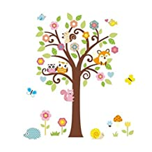 Charming Art Colorful Tree Decals with Owl Fox and Squirrel Wall Decal Wall Decor Wall Sticker Wallpaper for Kids Children Room Nursery