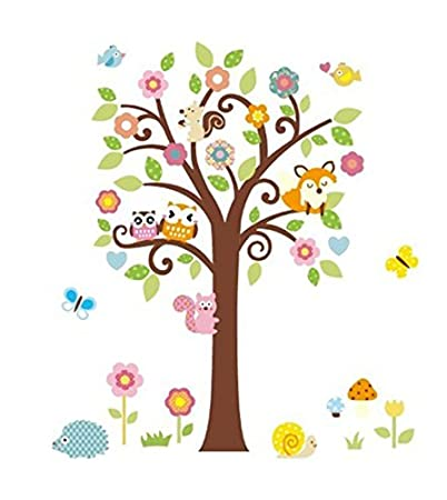 Owls, Fox And Squirrel Playing On Colorful Tree Wall Decal Owl Wall Decal