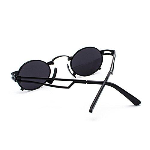 marco Caja UV400 Negro Negra de pequeñas redondas Huicai Men sol gafas sunglasses Gris metálico Vintage ovaladas gafas sunglasses pHq6pP