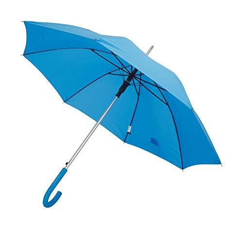 TAHARI Automatic Open Aluminum Shaft Rubberized Grip Handle Umbrella (Light Blue) (Lights Umbrella Rain With)