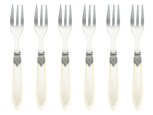 (Murano Set of 6 Pastry Forks Ivory )
