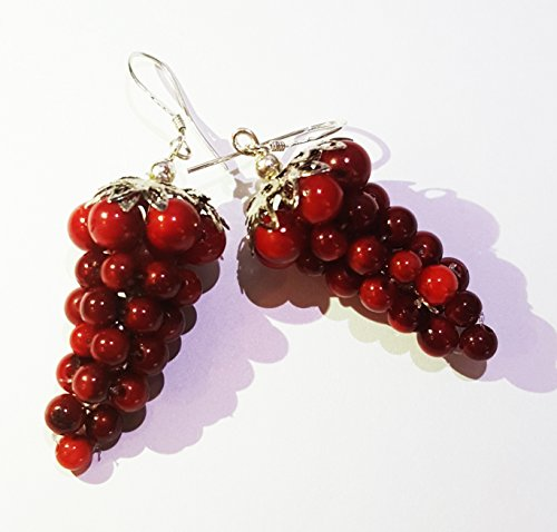 Gorgeous Antique Red Coral Grape Earrings 925 Sterling Silver Hooks Round Bead