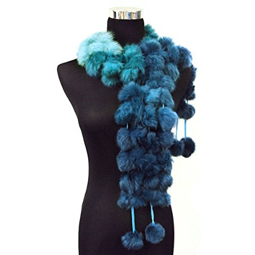 Angora Scarf - Angora/rabbit Fur Pom Balls Four Row Scarf Shawl Shrug Wrap--blue (Gradient)