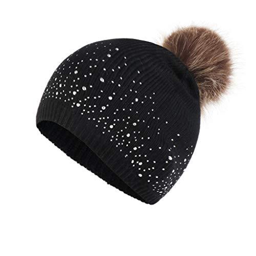 BCDshop Women Beanies Stretch Fashion Knit Wool Hemming Hat Rhinestone Warm Winter Faux Fur Ball Cap (Black)