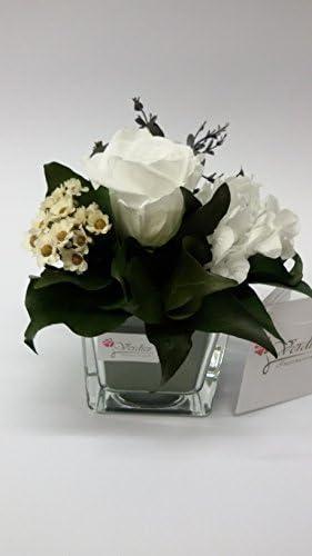 Fiori Stabilizzati.Composizione Fiori Stabilizzati Vetro 6x6 Rosa Bianco Amazon It