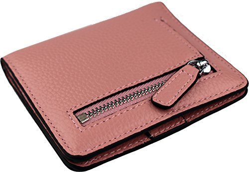 Women's RFID Blocking Small Genuine Leather Wallet Ladies Mini Card Case Purse (Pink) by KELADEY (Image #4)