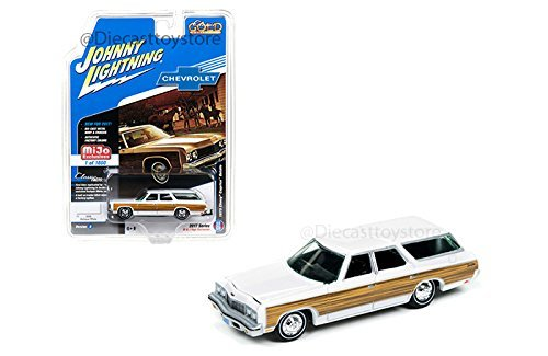 "1973 Chevrolet Caprice Wagon White ""Classic Gold"" 1/64 by Johnny Lightning JLCP7003 from Chevrolet"