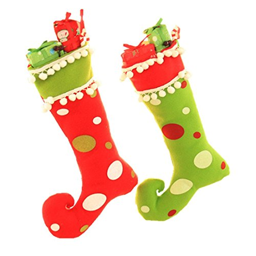 Boot Christmas Stocking - Winzik Christmas Stocking Pendant Cute Elf Boots Shoes Socks Candy Gift Bags Hanging Ornaments for Santa Festival Party Tree Decoration (Pack of 2)