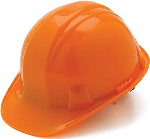 Pyramex Standard Shell Ratchet Suspension Hard Hat, 4 Point Ratchet Suspension, Orange