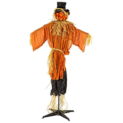 Halloween Haunters Animated Standing 6 Foot Scary Pumpkin Head Scarecrow Man Prop Decoration - Light-Up Flashing Face Turning Jack-O-Lantern Head with Moaning Sounds - Straw Hands, Haunted Harvest ()