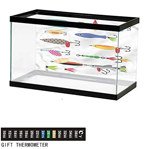 bybyhome Fish Tank Backdrop Fishing,Stinger Net and Worms,Aquarium Background,72