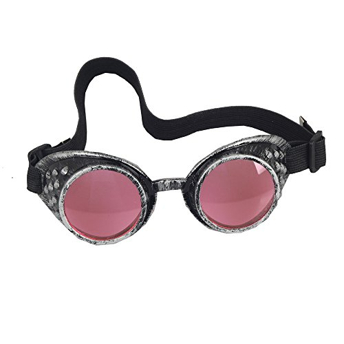 OMG_Shop Old Silver Frame Steampunk Goggles Glasses Vintage Victorian welding Cosplay Goth Punk Costume (Pink Lens) -