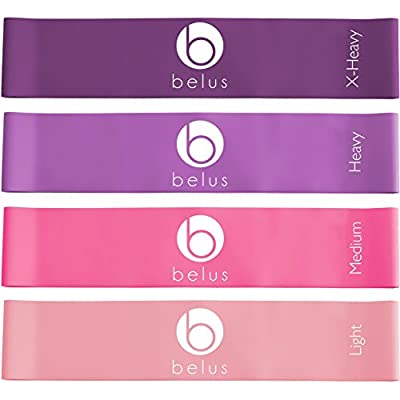 Set of Four Exercise Resistance Bands with Carry Bag and eBook. Loop Bands for Fitness, Physical Therapy and Rehabilitation (Purple and Pink) by Belus