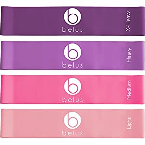 Belus Resistance Bands with Carry Bag, Video & eBook. Set of Four Loop Bands for Exercise and Fitness.