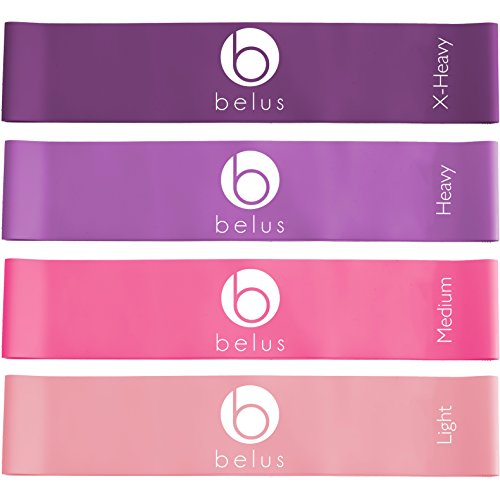 Resistance Bands with Carry Bag, Video & eBook. Set of Four Loop Bands for Exercise and Fitness (Purple and - Loop Bootie