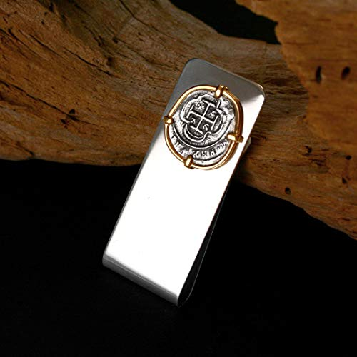 (Coin from Genuine 100% Atocha Silver Shipwreck Historical Spanish Replica Coin Money Clip - Available in 14kt Gold or Sterling Silver Frame - Includes Certificate of Authenticity)