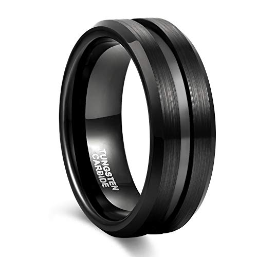 8mm Black Tungsten Wedding Band Ring for Men Grooved Center Brush Finish Comfort Fit Size 10