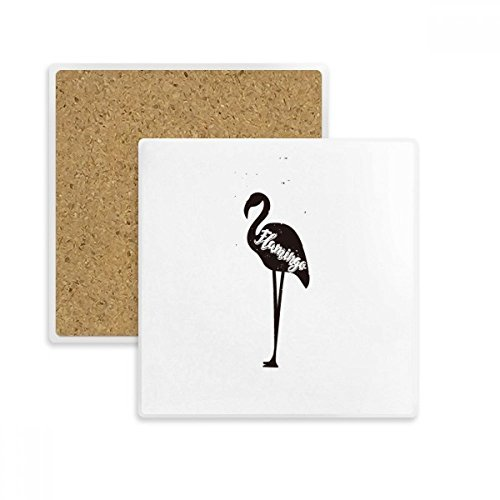 (Flamingo Black And White Animal Square Coaster Cup Mug Holder Absorbent Stone for Drinks 2pcs Gift)