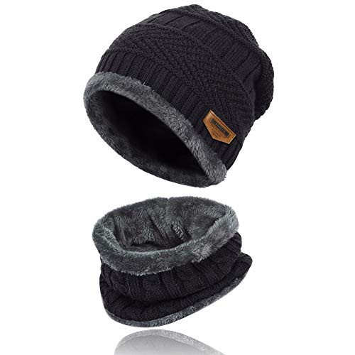 (2-Pieces Mens Beanie Hat Scarf Set Fleece Lined Winter Warm Knit Slouchy Thick Skull Cap for Men Unisex Black )
