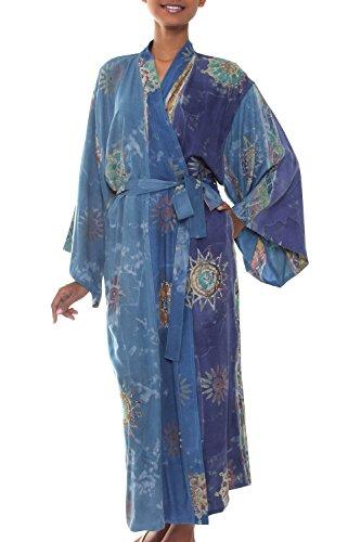 NOVICA Blue Women's Batik Printed Robe, Blue Baliku' (One Size Fits Most)