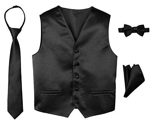 Spring Notion Boys' 4-Piece Satin Tuxedo Vest Set 14 (Boys Black Satin)