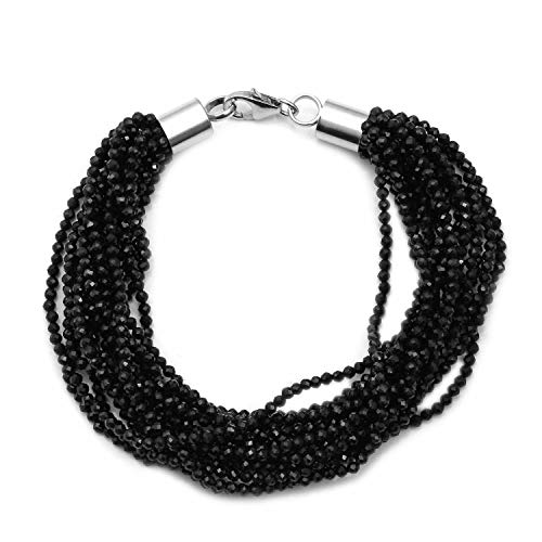 (Shop LC Delivering Joy 925 Sterling Silver Black Spinel Multi Strand Beaded Bracelet Gift Jewelry for Women Size 7.5