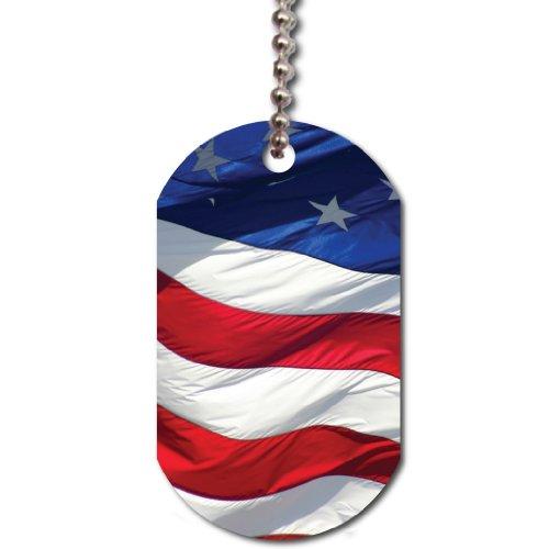 (VictoryStore Dog Tag - Wavy American Flag Dog Tag, Support America)