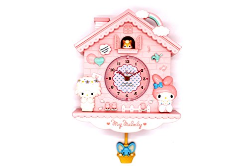 Rustic Golbary Gifts Cuckoo Nursery Wall Clock Pink with Pendulum Mouse House with Bunnies Adorable Infant Boys & Girls Gift ()