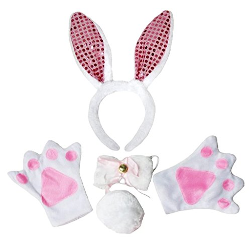 Gloves Bunny Costume (Petitebella Headband Bowtie Tail Gloves Unisex Adult 4pc Costume (Pink Sequins)